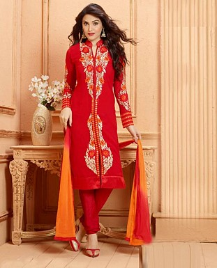 THANKAR NEW DESIGNER RED STRAIGHT SUIT @ Rs1853.00