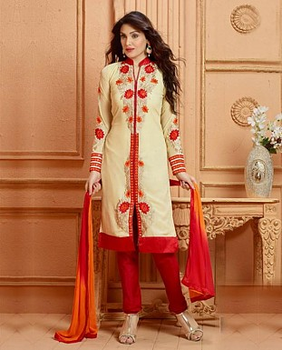 THANKAR NEW DESIGNER CREAM AND RED STRAIGHT SUIT @ Rs1853.00