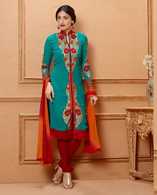 THANKAR NEW DESIGNER SKY BLUE AND RED STRAIGHT SUIT @ Rs1853.00