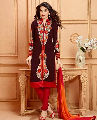 THANKAR NEW DESIGNER BROWN AND RED STRAIGHT SUIT @ Rs1853.00
