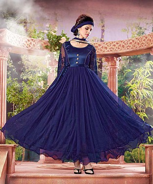 THANKAR ATTRACTIVE NET BRASSO DESIGNER NEVY BLUE ANARKALI SUITS @ Rs1112.00