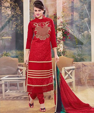 THANKAR NEW DESIGNER RED STRAIGHT SUIT @ Rs1173.00