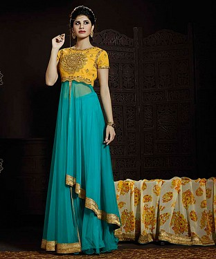 THANKAR LATEST EMBROIDERED DESIGNER YELLOW AND SKY ANARKALI SUITS @ Rs4820.00