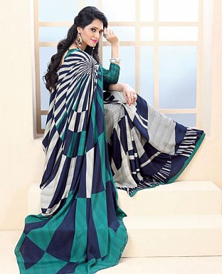 Thankar Sky Blue Crepe Printed Saree @ Rs988.00