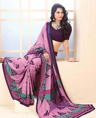 Thankar Purple Crepe Printed Saree @ Rs988.00