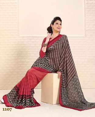 Thankar Red Crepe Printed Saree @ Rs988.00