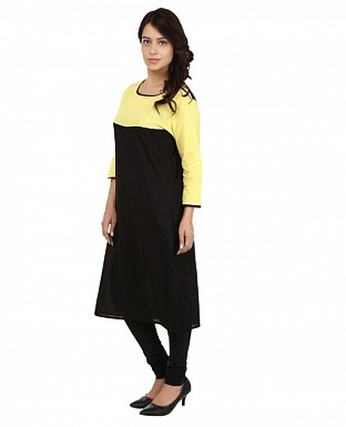 Black Solid Print Cotton  Kurti @ Rs617.00