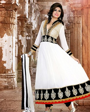 New fancy white Embroidered Anarkali Sui @ Rs1169.00
