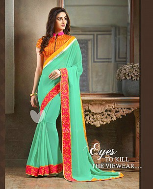 Georgette Embroidered Saree with Banglori Slik Blouse Buy Rs.799.00