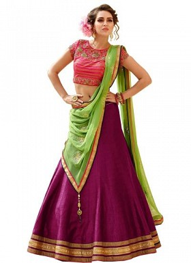 New Latest Magenta And Pink Banglori Silk Lehegha Choli@ Rs.1235.00