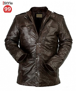 Gents Brown Leather Jacket @ Rs6488.00