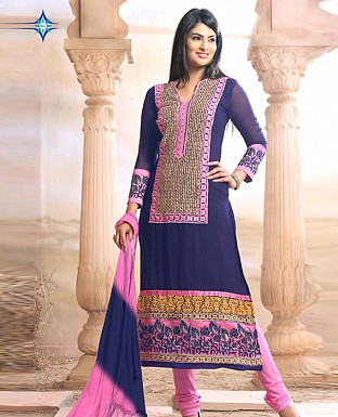 Latest blue pink colour Straight Suit @ Rs1422.00