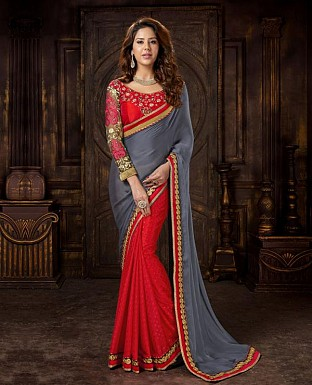 GREY AND RED DESIGNER SAREE @ Rs2411.00