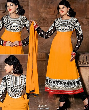 Latest Designer black orange Embroidered Anarkali suit @ Rs1144.00