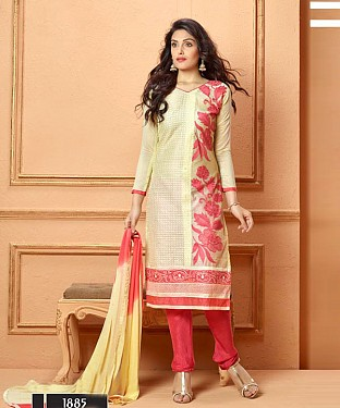 NEW DESIGNER CREAM AND PEACH STRAIGHT SUIT @ Rs1606.00