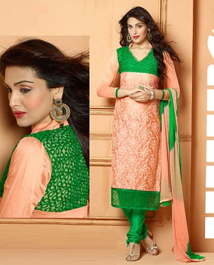 NEW DESIGNER PINK AND GREEN STRAIGHT SUIT @ Rs1606.00