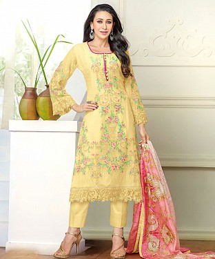 DESIGNER YELLOW STRAIGHT PLAZO SUIT @ Rs1915.00