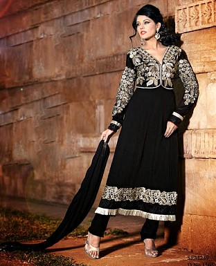 New Fancy black Embroidered Anarkali Suit @ Rs1169.00