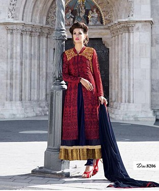 LATEST NAVY AND MAROON DESIGNER ANARKALI SUIT @ Rs2100.00