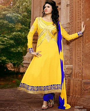 New Fancy yellow Embroidered Anarkali Suit @ Rs1144.00