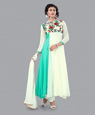 301005-fancy sky and white anarkali suit@ Rs.988.00