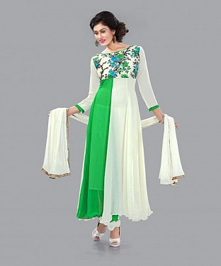 301006-fancy green and white anarkali suit@ Rs.988.00