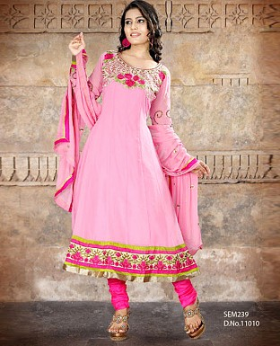 Latest Designer yellow blue Embroidered Anarkali suit @ Rs1144.00