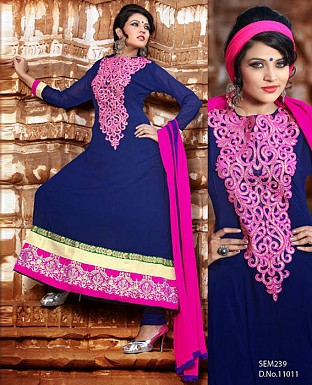New fancy blue Embroidered Anarkali suit @ Rs1222.00