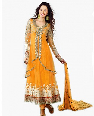 Baby yellow Gorgeous Anarkali Salwar Suits @ Rs2286.00