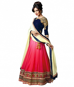 Resham Fabrics Pink Faux Georgette Embroidered Semi Stitched Lehenga @ Rs2349.00