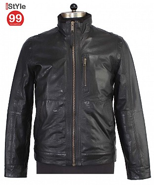 Black Gents Leather Jacket @ Rs6488.00