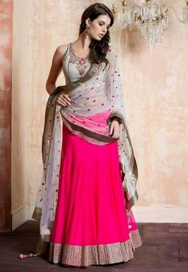 designer Pink and off white lehengha choli @ Rs929.00