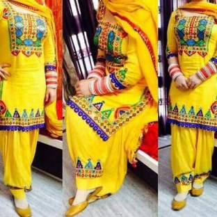 Lady Fashion Villa yellow designer salwar suit @ Rs866.00