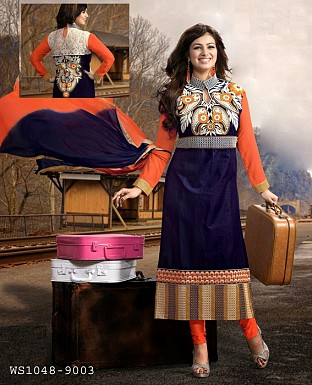 black and orange state long salwar suit @ Rs1606.00