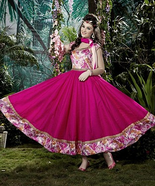 THANKAR PINK BANGLORI SILK WITH BHAGLPURI PRINT ANARKALI SUIT @ Rs1730.00