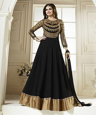 THANKAR LATEST DESIGNER BLACK LONG SLEEVE ANARKALI SUIT @ Rs1853.00