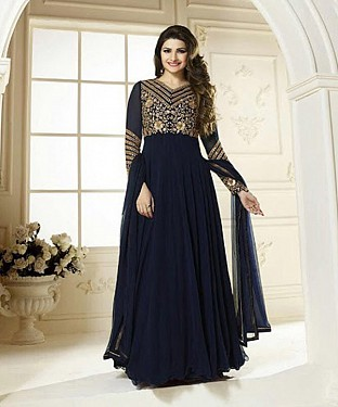 THANKAR LATEST DESIGNER NAVY BLUE LONG SLEEVE ANARKALI SUIT @ Rs1730.00