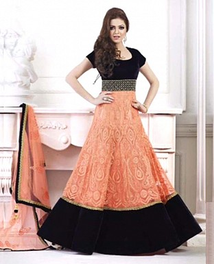 Drashti dhami letest peach flour length anarkali suit @ Rs1544.00
