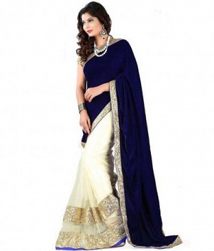 Lady Fashion Villa blue designer sarees @ Rs866.00