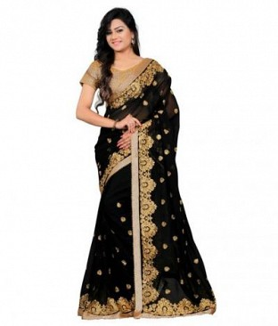 Lady Fashion Villa black designer sarees @ Rs989.00