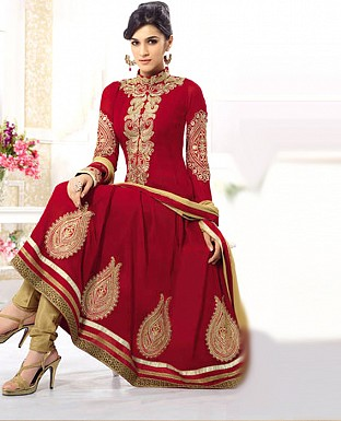 kirti red heavy embroidared anarkali suit@ Rs.1441.00