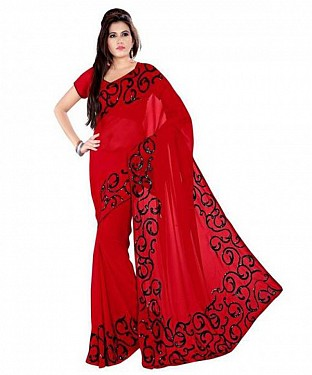 Embroidered Red Chiffon Saree@ Rs.642.00