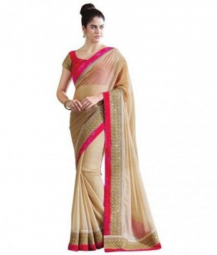 Lady Fashion Villa chiku designer sarees @ Rs852.00