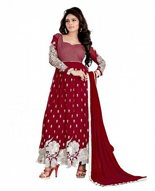 Embroidered Maroon Salwar suits Material@ Rs.989.00
