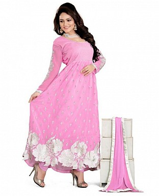 Embroidered Pink Salwar Suits Dress Material@ Rs.989.00