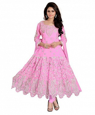 Embroidered Off-Pink Salwar Suits Dress Material @ Rs897.00