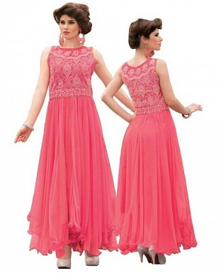 Pink Soft Net Embroidered Partywear Gown@ Rs.1175.00