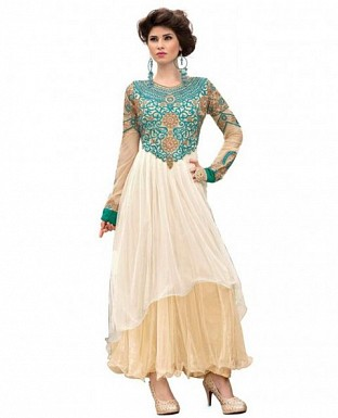 Beige and Light Blue Soft Net Embroidered Designer Gown @ Rs1459.00