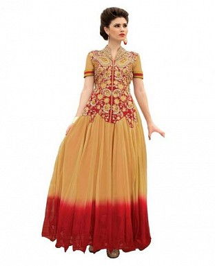 Orange and Red Soft Net Embroidered Anarkali Gown@ Rs.1669.00