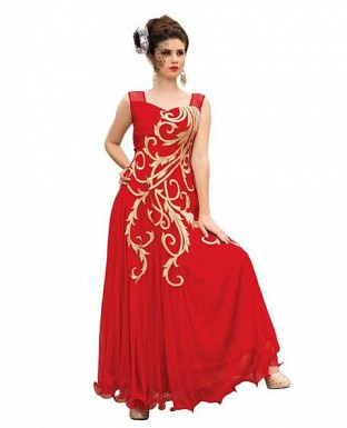 Red Soft Net Embroidered Partywear Gown @ Rs1267.00